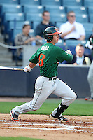 "Miami Hurricanes Michael Broad #8 during a game vs. the University of South Florida Bulls in the ""Florida Four"" at George M. Steinbrenner Field in Tampa, Florida;  March 1, 2011.  USF defeated Miami 4-2.  Photo By Mike Janes/Four Seam Images"