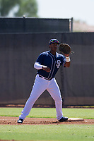 San Diego Padres first baseman Jason Pineda (30) prepares to catch a ball during an Instructional League game against the Texas Rangers on September 20, 2017 at Peoria Sports Complex in Peoria, Arizona. (Zachary Lucy/Four Seam Images)