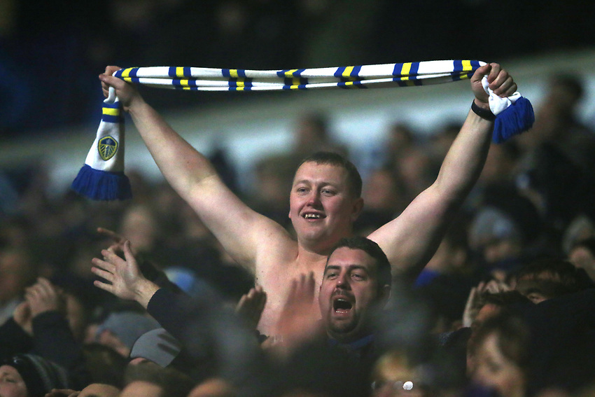 A Leeds United fan celebrates his sides goal<br /> <br /> Photographer Stephen White/CameraSport<br /> <br /> The EFL Sky Bet Championship - Bolton Wanderers v Leeds United - Saturday 15th December 2018 - University of Bolton Stadium - Bolton<br /> <br /> World Copyright © 2018 CameraSport. All rights reserved. 43 Linden Ave. Countesthorpe. Leicester. England. LE8 5PG - Tel: +44 (0) 116 277 4147 - admin@camerasport.com - www.camerasport.com