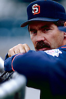 San Diego Padres Manager Bruce Bochy during a game at Anaheim Stadium in Anaheim, California during the 1997 season.(Larry Goren/Four Seam Images)