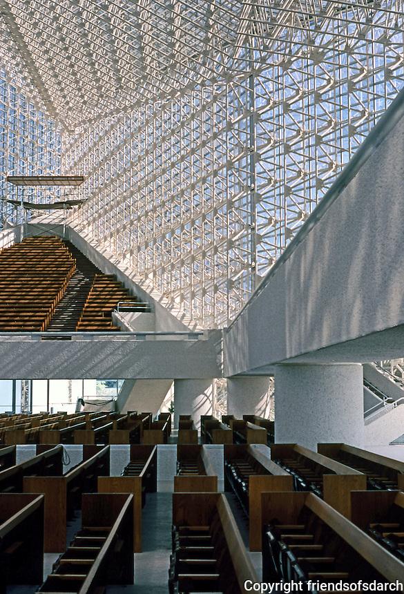 Philip Johnson: Crystal Cathedral--Pews, Interior. Photo '80.