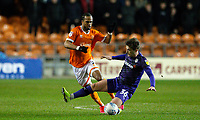 Blackpool's Nathan Delfouneso is fouled by Tranmere Rovers' Alex Woodyard<br /> <br /> Photographer Alex Dodd/CameraSport<br /> <br /> The EFL Sky Bet League One - Blackpool v Tranmere Rovers - Tuesday 10th March 2020 - Bloomfield Road - Blackpool<br /> <br /> World Copyright © 2020 CameraSport. All rights reserved. 43 Linden Ave. Countesthorpe. Leicester. England. LE8 5PG - Tel: +44 (0) 116 277 4147 - admin@camerasport.com - www.camerasport.com