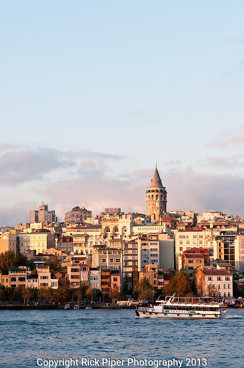 Galata Skyline 02 - Late afternoon sun shining on the Galata skyline, viewed from Eminonu, Istanbul, Turkey