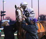 Jockey Luis Saez receives congratulations after winning G1 Clark Handicap on Will Take Charge.<br /> November 29, 2013.
