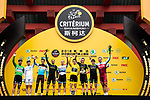 The winners on the podium at the end of the 2018 Shanghai Criterium, Shanghai, China. 17th November 2018.<br /> Picture: ASO/Alex Broadway | Cyclefile<br /> <br /> <br /> All photos usage must carry mandatory copyright credit (&copy; Cyclefile | ASO/Alex Broadway)