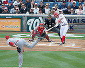 Washington Nationals third baseman Ryan Zimmerman (11) bats in the first inning against the Cincinnati Reds at Nationals Park in Washington, D.C. on Thursday, April 12, 2012.  The Nationals won the game in 10 innings 3 - 2..Credit: Ron Sachs / CNP
