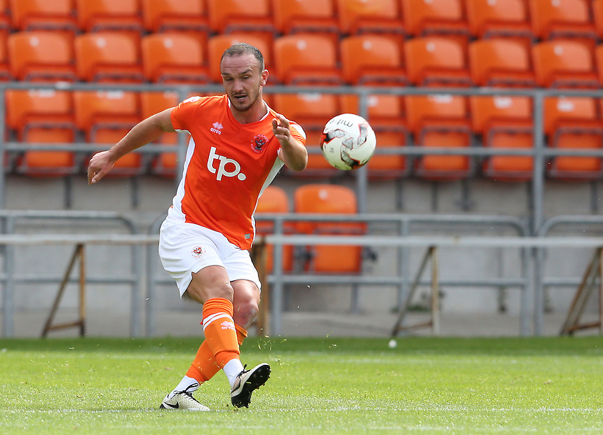 Blackpool's Tom Aldred<br /> <br /> Photographer Stephen White/CameraSport<br /> <br /> Football - Pre-Season Friendly - Blackpool v Bury - Saturday 30 July 2016 - Bloomfield Road - Blackpool<br /> <br /> World Copyright &copy; 2016 CameraSport. All rights reserved. 43 Linden Ave. Countesthorpe. Leicester. England. LE8 5PG - Tel: +44 (0) 116 277 4147 - admin@camerasport.com - www.camerasport.com