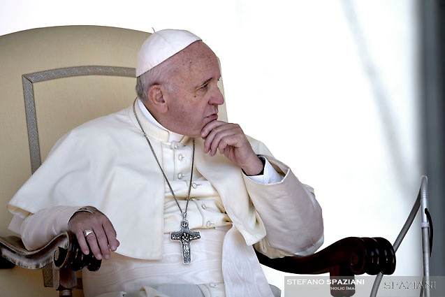 Pope Francis  during his weekly general audience on St.Peter's square at the Vatican on August 29, 2018