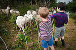 Children visiting the goats, Baa-tany Goat Progam on Jane Bald