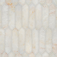 Picket, a hand-cut stone mosaic, shown in polished Cloud Nine, is part of the Semplice™ collection for New Ravenna.