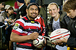 Fritz Lee signs auotgraphs for fans after the game. ITM Cup rugby game between Counties Manukau and Manawatu played at Bayer Growers Stadium on Saturday August 21st 2010..Counties Manukau won 35 - 14 after leading 14 - 7 at halftime.