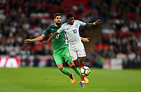 Marcus Rashford of England and Miha Mevlja of Slovenia<br /> <br /> Photographer Rob Newell/CameraSport<br /> <br /> FIFA World Cup Qualifying - European Region - Group F - England v Slovenia - Thursday 5th October 2017 - Wembley Stadium - London<br /> <br /> World Copyright &copy; 2017 CameraSport. All rights reserved. 43 Linden Ave. Countesthorpe. Leicester. England. LE8 5PG - Tel: +44 (0) 116 277 4147 - admin@camerasport.com - www.camerasport.com