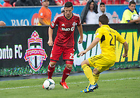 July 27, 2013: Toronto FC midfielder Alvaro Rey #23 battles with Columbus Crew defender Chad Barson #21 during an MLS regular season game between the Columbus Crew and Toronto FC at BMO Field in Toronto, Ontario Canada.<br /> Toronto FC won 2-1.