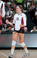 STANFORD, CA - September 2, 2010: Karissa Cook celebrates during a volleyball match against UC Irvine in Stanford, California. Stanford won 3-0.