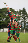 Waiuku's J. Kennedy and Ardmore Marist's A. Te Pou both fail  to secure lineout ball. Counties Manukau Premier Club Rugby, Ardmore Marist vs Waiuku played at Bruce Pulman Park, Papakura on the 29th of April 2006. Ardmore Marist won 10 - 9.