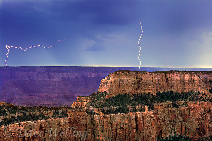 749220292 a summer monsoon thunderstorm generates massive lightning strikes over the canyon on the road to cape royal on the north rim of grand canyon national park in northern arizona