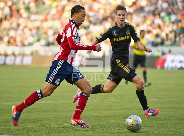 CARSON, CA - July 21, 2012: Chivas USA defender Ryan Smith (22) during the LA Galaxy vs Chivas USA match at the Home Depot Center in Carson, California. Final score LA Galaxy 3, Chivas USA 1.