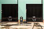 July 6, 2016. Greenville, South Carolina. <br />  The massive doors where the new gas turbines are moved to other parts of the GE facility, or taken to the train tracks for shipping. <br />  At the General Electric Gas Turbine factory, engineers  design, produce, test and repair gas turbines for generating electricity. These turbines weigh more than 900,000 pounds and can create internal combustion temperatures up to 2,900 degrees F. Depending on the model, one of the GE turbines can produce enough electricity for half a million American households.
