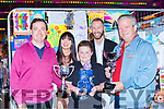 Hugh Courtney presents the Cllr Michael Courtney memorial cup to  the over all winner Andrew McGillicuddy at the Birds Amusements Art competition in Killarney on Saturday evening l-r: Hugh Courtney, Tracey Sexton judge, Andrew McGillicuddy, Daniel Sexton and Don Bird