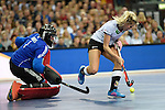 Leipzig, Germany, February 08: Adinda Alberts #1 of The Netherlands makes a save during shoot-out against Kristina Hillmann #9 of Germany during the women gold medal match between Germany (white) and The Netherlands (orange) on February 8, 2015 at the FIH Indoor Hockey World Cup at Arena Leipzig in Leipzig, Germany. Final score 1-2 after shoot out. (Photo by Dirk Markgraf / www.265-images.com) *** Local caption ***