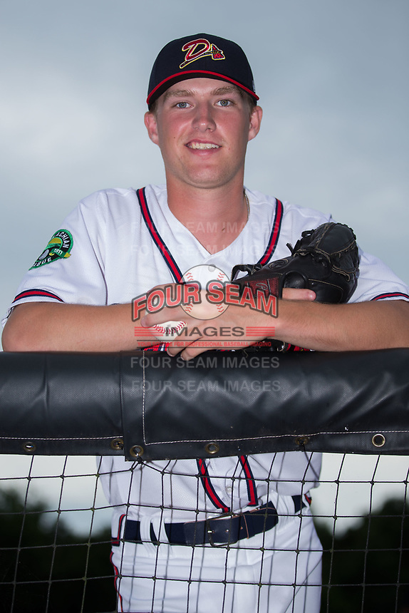 Danville Braves pitcher John Curtis (30) poses for a photo prior to the game against the Princeton Rays at American Legion Post 325 Field on June 25, 2017 in Danville, Virginia.  The Braves walked-off the Rays 7-6 in 11 innings.  (Brian Westerholt/Four Seam Images)