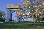 "National Memorial Arch, Valley Forge National Historical Park, Pennsylvania. Dedicated in 1917, it commemorates the ""patience and fidelity"" of the soldiers who wintered at Valley Forge in 1777-1778."