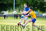 Colm O'Shea Laune Rangers is blocked by Beauforts Michael J O'Connor in Beaufort on Saturday evening