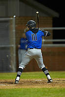 Gage Smith (10) of the Lake Norman Wildcats at bat against the Davie War Eagles at Davie County High School on March 7, 2018 in Mocksville, North Carolina.  The Wildcats defeated the War Eagles 12-0.  (Brian Westerholt/Four Seam Images)