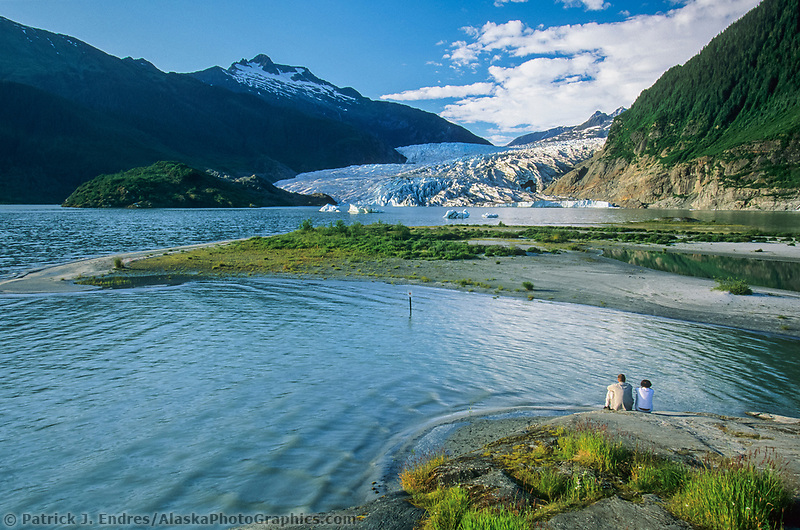 Mendenhall Glacier, located just outside Juneau, Alaska is 12 miles long and 1.5 miles wide and extends from the Juneau Ice Field to Mendenhall Lake. A popular tourist attraction due to easy accessibility.