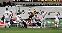 Pictured: Nick Montgomery o Sheffield United (4) is denied a goal by Dorus de Vries, Swansea goalkeeper (in yellow). Saturday 07 May 2011<br /> Re: Swansea City FC v Sheffield United, npower Championship at the Liberty Stadium, Swansea, south Wales.