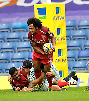 Oxford, England. Hudson Tonga'uiha of London Welsh tackled during the Aviva Premiership match between London Welsh  and Leicester Tigers at Kassam Stadium on September 2, 2012 in Oxford, England.