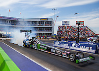 Oct 17, 2015; Ennis, TX, USA; NHRA top fuel driver Brittany Force during qualifying for the Fall Nationals at the Texas Motorplex. Mandatory Credit: Mark J. Rebilas-USA TODAY Sports