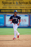 Reading Fightin Phils designated hitter Jiandido Tromp (7) runs the bases during the first game of a doubleheader against the Portland Sea Dogs on May 15, 2018 at FirstEnergy Stadium in Reading, Pennsylvania.  Portland defeated Reading 8-4.  (Mike Janes/Four Seam Images)