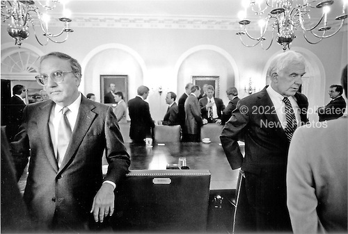 "Washington, DC - (FILE) -- United States Senate Majority Leader George Mitchell (Democrat of Maine), far left, and United States Speaker of the House Tom Foley (Democrat of Washington) have discussions in the Cabinet Room of the White House in Washington, D.C. on Wednesday, June 30, 1993.  In the background United States House Majority Leader Dick Gephardt (Democrat of Missouri) is speaking with White House Chief of Staff Thomas ""Mac"" McLarty and United States President Bill Clinton is conferring with United States Senate Minority Leader Bob Dole (Republican of Kansas) and United States House Minority Leader Newt Gingrich (Republican of Georgia)..Credit: White House via CNP"