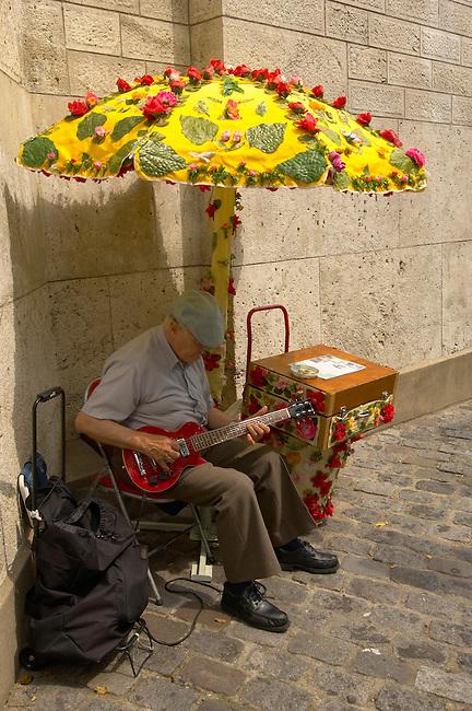 Paris - France - Montmatre - Busker with guitar