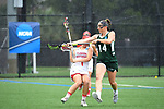 TAMPA, FL - MAY 20: Meghan Vadala #1 of the Florida Southern Mocs and Bryanna Fazio #14 of the Le Moyne Dolphins battle for the ball during the Division II Women's Lacrosse Championship held at the Naimoli Family Athletic and Intramural Complex on the University of Tampa campus on May 20, 2018 in Tampa, Florida. Le Moyne defeated Florida Southern 16-11 for the national title. (Photo by Jamie Schwaberow/NCAA Photos via Getty Images)