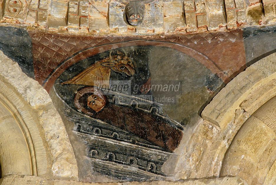 Europe/France/Midi-Pyrénées/09/Ariège/Couserans/Montgauch: Eglise - Fresques romanes XIIème - Scène de la nativité du Christ