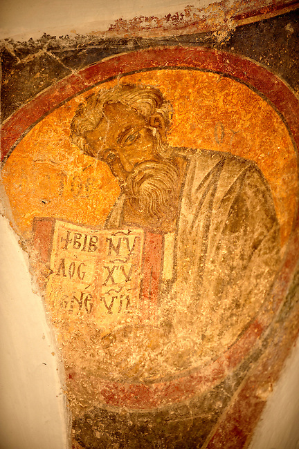 Rare 12th Century Greek Orthodox Byzantine Fresco in the Church of the Ayioi Apstoloi  Katomeria, Kea, Greek Cyclades Islands