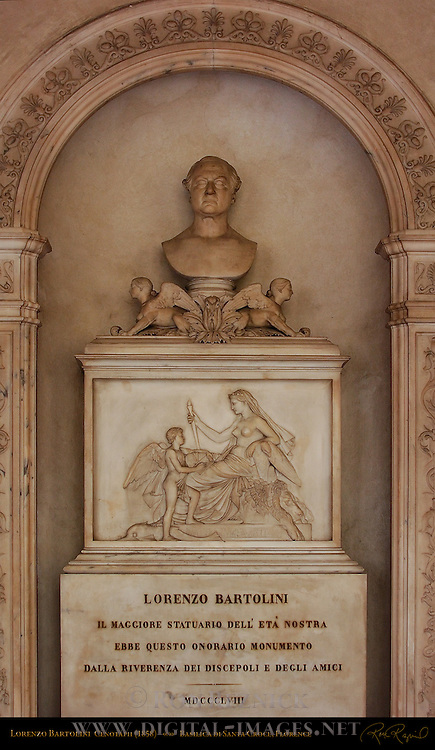 Alabaster Monument to Lorenzo Bartolini master sculptor Santa Croce Florence