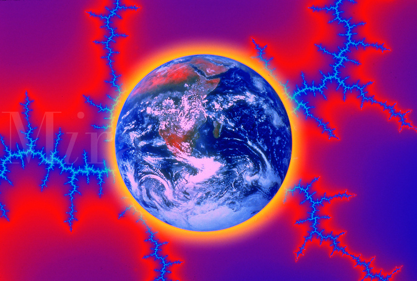 Earth and fractal lightning bolts, computer generated digital image