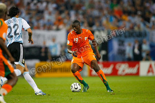 Jun 10, 2006; Hamburg, GERMANY; Ivory Coast midfielder (19) Yaya Toure plays in the Argentina vs. Ivory Coast match in 1st round group C action of the 2006 FIFA World Cup at FIFA World Cup Stadium Hamburg. Argentina defeated the Ivory Coast 2-1. Mandatory Credit: Ron Scheffler-US PRESSWIRE Copyright © Ron Scheffler