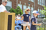 On behald of Fourth of July Association, Inc, a young boy and girl accept award for Most Patriotic Float in Wantagh Parade, on Wednesday, July 4, 2012, at Wantagh School, New York, USA.