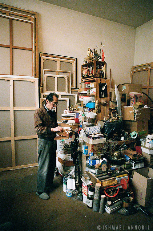 Kenji Yoshida, Avant Garde artist and former Kamikaze pilot. I shot these photos in his Montparnasse studio, Paris, in 2008, during the shooting of my documentary, Kenji Yoshida - Artist of the Soul.