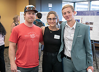 Professor Darren Larsen, Lori Berberian and Ian Van Dusen<br /> Occidental College's Undergraduate Research Center hosts their annual Summer Undergraduate Research Conference on July 31, 2019. Student researchers presented their work as either oral or poster presentations at this final conference. The program lasts 10 weeks and involves independent research in all departments.<br /> (Photo by Marc Campos, Occidental College Photographer)
