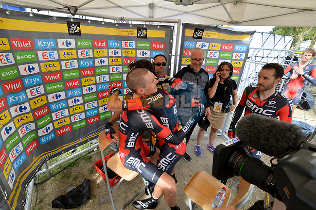 BMC Racing Team celebrate after winning Stage 9 of the 2015 Tour de France a team time trial running 28km from Vannes to Plumelec, France. 11th July 2015.<br /> Photo: ASO/P.Perreve/Newsfile