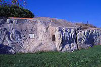 deGarthe Memorial Monument (Sculptor William E. deGarthe), Peggys Cove (Peggy's Cove), NS, Nova Scotia, Canada - Rock Carving dedicated to Nova Scotia Fishermen - South Shore Region