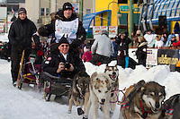 2010 Iditarod Ceremonial Start in Anchorage Alaska musher # 41 DALLAS SEAVEY with Iditarider CHARLES CHOWNS.