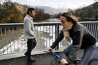 Switzerland. Geneva. Poverty in Geneva. Jean Schaller is a swiss from the Jura state and is 55 years old. He walks on the Acacias bridge, above the Arve river. He is unemployed and lives from social welfare, He can't see well because he is sick from both eyes. Model Released. © 2005 Didier Ruef