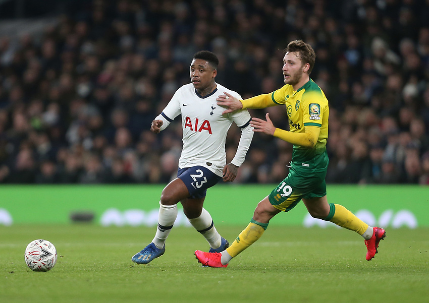 Tottenham Hotspur's Steven Bergwijn and Norwich City's Tom Trybull<br /> <br /> Photographer Rob Newell/CameraSport<br /> <br /> The Emirates FA Cup Fifth Round - Tottenham Hotspur v Norwich City - Wednesday 4th March 2020 - Tottenham Hotspur Stadium - London<br />  <br /> World Copyright © 2020 CameraSport. All rights reserved. 43 Linden Ave. Countesthorpe. Leicester. England. LE8 5PG - Tel: +44 (0) 116 277 4147 - admin@camerasport.com - www.camerasport.com