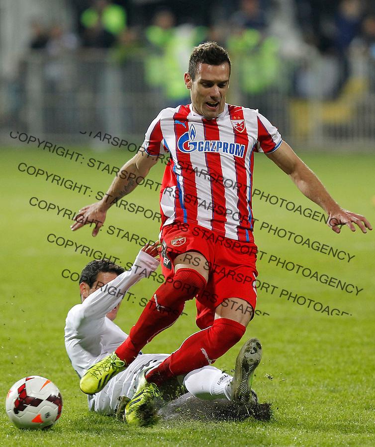 Fudbal Super liga season 2013-2014<br /> Cukaricki v Crvena Zvezda<br /> Dragoljub Srnic (L) and Marko Vesovic<br /> Beograd, 06.10.2013.<br /> foto: Srdjan Stevanovic/Starsportphoto &copy;